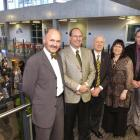 Attending the official opening of the University of Otago's new Hunter Centre are vice-chancellor...