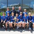 (From front left) Lachie Miller (11), Taz Hall (12), most valued player Ben Miller (13), captain...