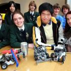 From left, Columba College pupils Amy Anderson (18), Tunan Pan (17), Anna Fields (17), Lee White ...