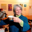Judge Kim Pieters with a deerskin-covered tea set, Deer It Is, by Christchurch artist Tony...