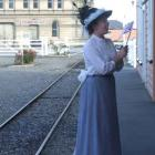 """Mrs Atkinson"" awaits the arrival of Sir George Grey at the Harbourside railway station."
