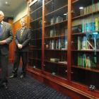 Otago Cricket Association patron Iain Gallaway (left) and OCA chairman Murray Hughes open the...