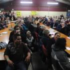 A packed meeting at the Cargill Enterprises Hall, in Dunedin, last night listens to speakers...