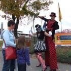 """Pulling Strings"" street artists Sophie Ewert and Pascal Ackermann entertain Southlanders Wendy..."