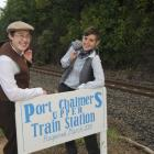 """""""Stationmasters"""" Sarah Orchard (left) and Joe MacDonald get ready for Port Chalmers commuters..."""