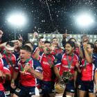 Tasman players celebrate after winning during the ITM Cup Championship FInal match between Tasman...