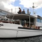 'Tiakina', the boat formerly owned by convicted fraud Michael Swann, which is being refitted as a...