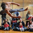 A Bale Folclorico da Bahia dancer, from Brazil, wows the audience during the kapa haka welcome...