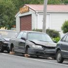 A car left on blocks in South Rd, Caversham has angered residents. Photo by Gregor Richardson.