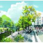 A concept illustration depicting the Avon River and  rebuilt environs. Image supplied.