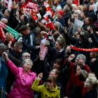 A crowd takes part in a vigil for victims of the 1989 Hillsborough disaster, at St George's Hall...