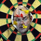 A dart board featuring an image of Minister for Tertiary Education Steven Joyce. The dart board...