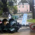 A downed traffic light is seen on St. Charles Ave. as Hurricane Isaac passes through New Orleans,...