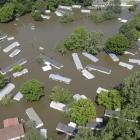 A flooded residential area is seen in this aerial photograph in Memphis.  (AP Photo/Jeff Roberson)