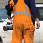 A KiwiRail employee leaves the meeting in Dunedin yesterday.  Photo by Craig Baxter.