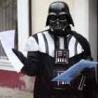 A local resident dressed as the Star Wars villain Darth Vader visited the Odessa mayor's office...