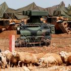 A mobile missile launcher is positioned at a military base on the Turkish-Syrian border in Suruc,...