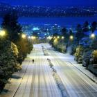 A nearly deserted Stuart St, Dunedin, after snow in the city in June last year. Photo by Stephen...