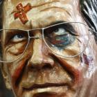 A papier mache figure for a carnival float depicting German President Christian Wulff as a...