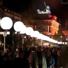 A part of Berlin has been temporarily divided with a light installation 'Lichtgrenze' (Border of...