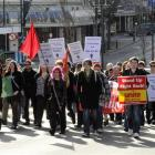 A protest rally marches on Princes St, Dunedin, on Saturday, in opposition to  the possible...