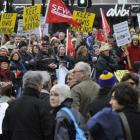 A recent rally in the Octagon to save jobs at Hillside Workshops in South Dunedin. Photo by...