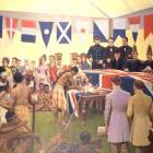 A reconstruction of the signing of the Treaty of Waitangi by Marcus King, painted nearly  100...