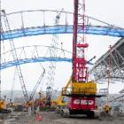 A second roof truss is lifted into place at the Forsyth Barr Stadium earlier this month. Photo by...