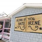 A shop at Cape Hatteras National Seashore in Avon, North Carolina features a message regarding...