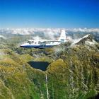 A sightseeing plane flies near Lake Quill and the Sutherland Falls in Fiordland. Photo supplied.