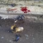 A soldier's boot and blood stains are seen on the ground after a bomb attack occurred in Alawi...