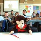 A trusted friend ... Jones the Monkey with the Terrace School's room three pupils in Alexandra....