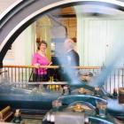 Accompanied by Dunedin Gasworks Museum secretary Bill Cowan, Prime Minister Helen Clark looks...