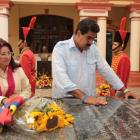 Acting Venezuelan President Nicolas Maduro and his wife Cilia Flores visit the tomb of late...