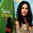 """Actress Megan Fox poses after winning """"Hottie of the Year"""" at the Teen Choice 2009 Awards in..."""