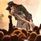 Aerosmith frontman Steven Tyler revs up the crowd during last night's concert at Forsyth Barr...