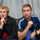 Alex Anfilets (left) and Simon Broekhuizen the day after being rescued  near Taieri Island....