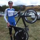 Alex McGregor with the bike he borrowed to finish fourth in the elite time trial at the New...