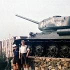 Alistair McMurran (left) and David Horne stand beside an old Russian tank in Trans Dniester...