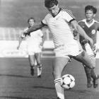 All White striker Steve Wooddin scores a goal in 1981.