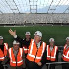 Allied Press managing director Julian Smith tests the acoustics in Dunedin's Forsyth Barr Stadium...