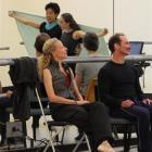Amanda McKerrow and John Gardner rehearse RNZB dancers Arata Miyagawa and Madeline Graham ...