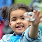 Amber Kasosera (5), of Helen Deem Kindergarten, chases bubbles at the Dunedin Kindergarten...