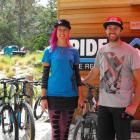Americanmountain bike coach Kat Sweetwith Corrie Mullin, of Queenstown's DTR Industries,  at the...
