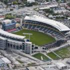 AMI Stadium in Christchurch, which was damaged by an earthquake that struck Christchurch on...