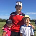Anahera Koni and her brother Kairangi, of Dunedin, meet their hero, women's world No 1 Lydia Ko,...