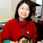 Andrea Mei-Wen Wang with a dish of yu-bin. Photo by Charmian Smith.