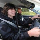 Andrew Henderson receives professional tuition from driving instructor Jim Pine at St Kilda....