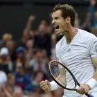 Andy Murray celebrates his victory over Kevin Anderson.  REUTERS/Toby Melville