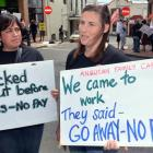 Anglican Family Care social workers Pania Tulia (left) and Fiona McLean rally in Dunedin...